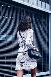 dress,tumblr,mini dress,white dress,crochet dress,crochet,knitted dress,knitwear,bag,black bag,chanel,chanel bag,long sleeves,long sleeve dress,lace up,fall dress,knitted mini dress,white knit dress