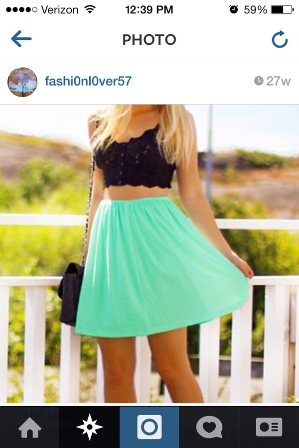 skirt summer teal high waisted skirt cute dress