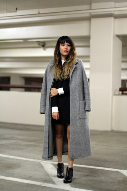 joellen love blogger grey coat collared dress long coat bag dress coat shoes