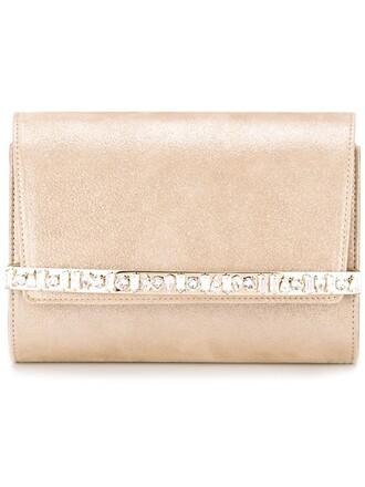 bow embellished clutch nude bag