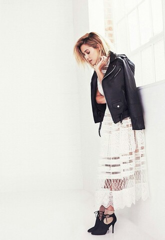 blouse biker jacket lauren conrad blogger lace dress long dress fall outfits eyelet dress black leather jacket leather jacket black jacket midi dress white lace dress boots black boots