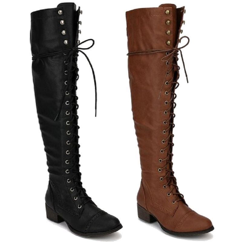 Womens Over The Knee Up Military Combat Boots Breckelle's ALABAMA-12