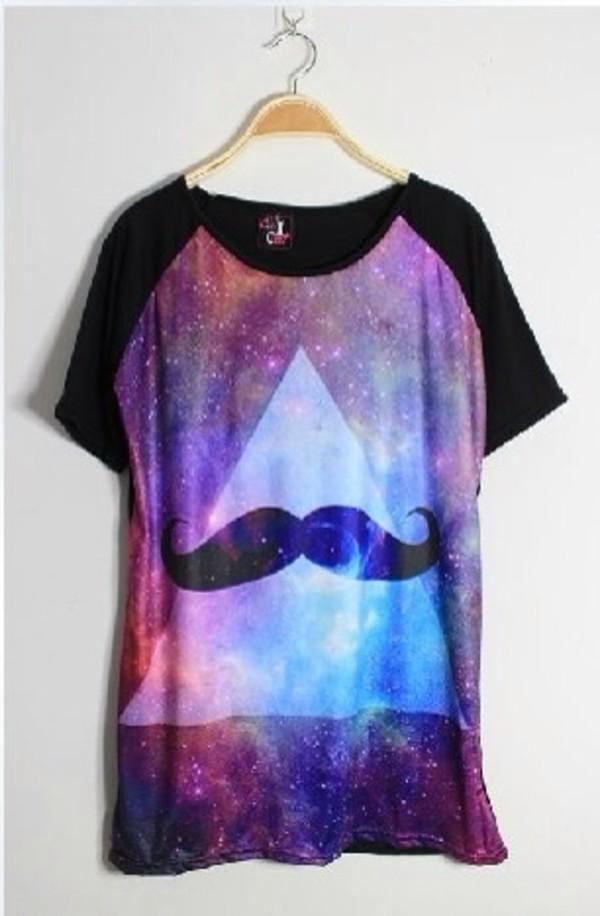 skirt galaxy shirt moustache