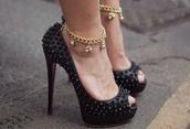 shoes,high heels,black,studs,black shoes,spiked shoes,high heel pumps,peep toe pumps