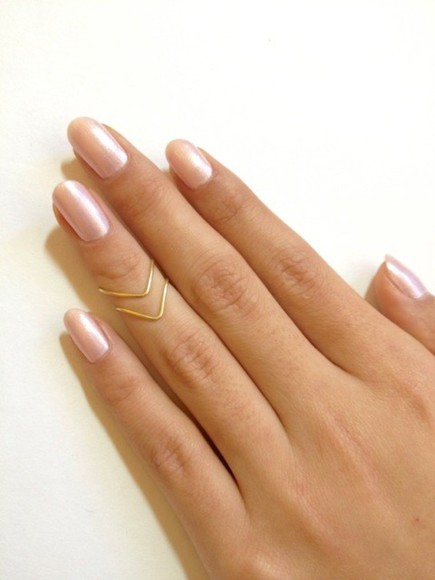 nail polish rose gold midi ring chevron