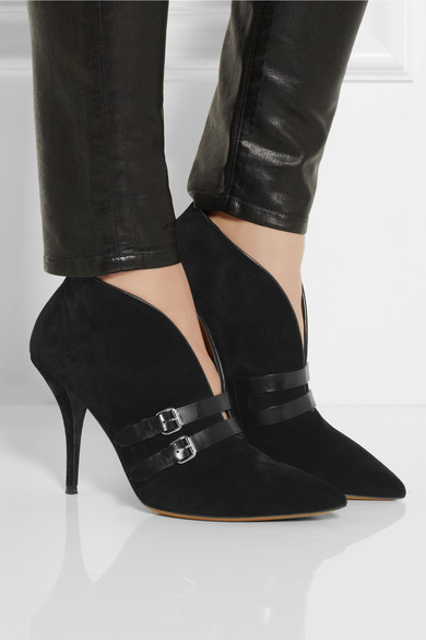 phoenix buckled suede ankle boots