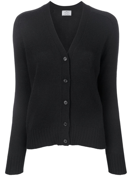 Prada cardigan cardigan women suede black sweater
