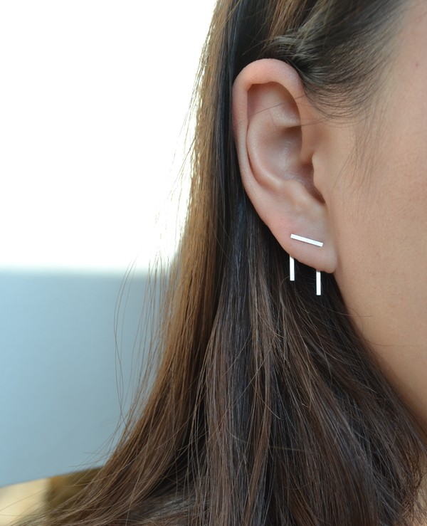 jewels double piercing silver earrings orbital piercing silver earrings found on pinterest seconds metal jewelry girl earrings ear cuff earing set earings earrings double peircing minimalist jewelry custom jewellery white