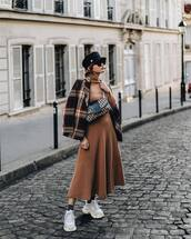 shoes,sneakers,white sneakers,platform sneakers,midi dress,knitted dress,long sleeve dress,jacket,checkered,cap,sunglasses,crossbody bag
