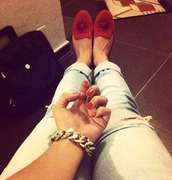shoes,loafers,red,jewels,smoking slippers,jeans