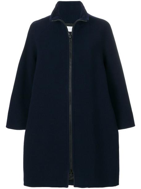 GIANLUCA CAPANNOLO coat zip women spandex blue wool