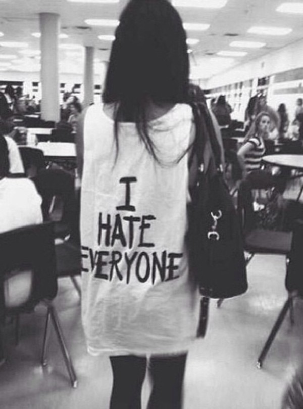 shirt i hate everyone white