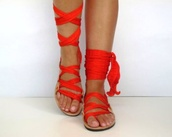 shoes,lace up sandals,red,Red low heel sandals