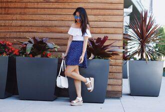 skirt mini skirt star printed skirt a-line skirt platform sandals blogger blogger style off the shoulder satchel bag