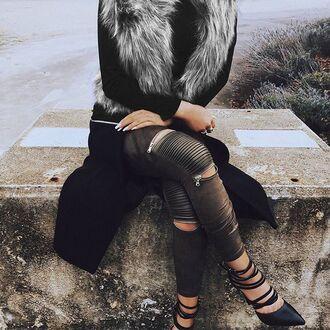 leggings maniere de voir khaki suede zip trouser leather panel zipped olive green green