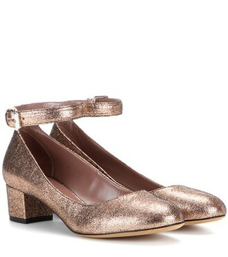 metallic pumps leather shoes