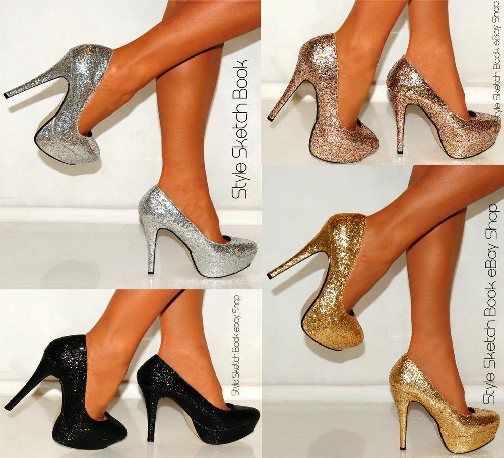 High Heels Silver Gold Platform Glitter Shimmer Sparkly Court Shoes Sizes 3 8 | eBay