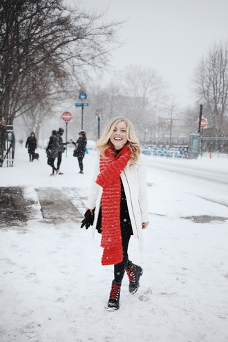 rach martino blogger hat scarf dress tights shoes sweater jacket leggings winter outfits winter coat winter boots