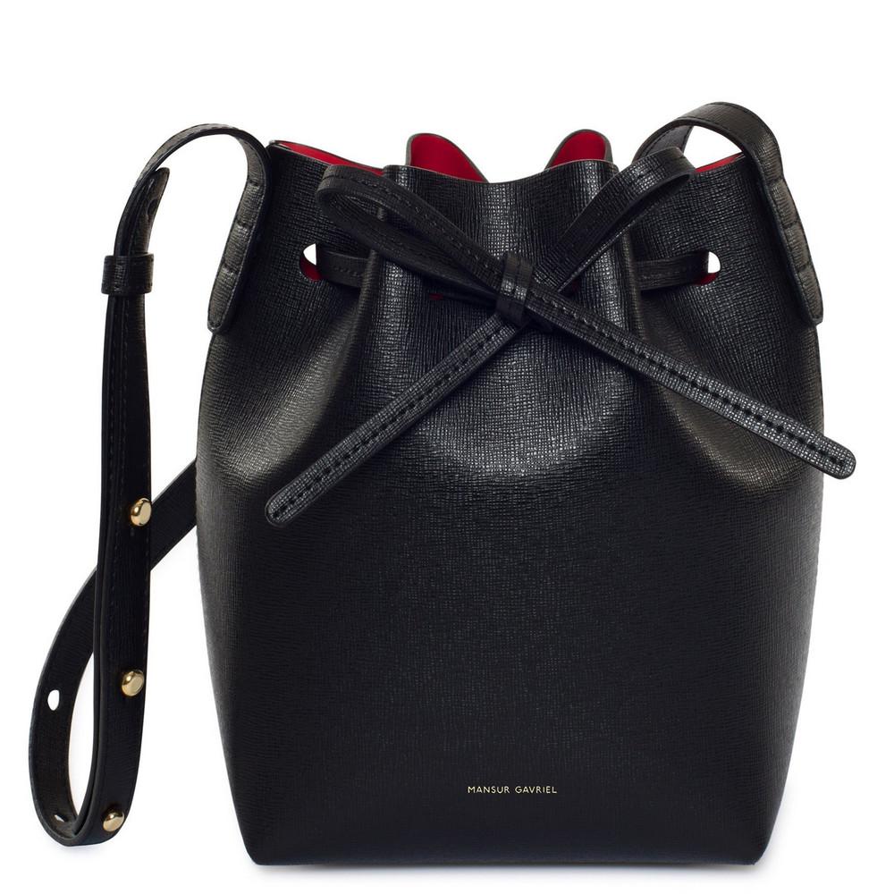 Mansur Gavriel Saffiano Mini Mini - Black/Flamma