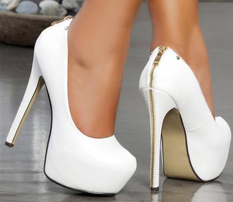 heels white shoes white heels high heels shoes heels white zipper white heels with gold zipper white zipper pumps zip white heels with zipper white pumps zips pretty gold zipper stilettos zipper heels white and gold