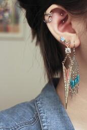 jewels,boho,earrings,piercing,helix piercing,lobe