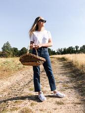 trini,blogger,sunglasses,jeans,t-shirt,shoes,jewels,bag,basket bag