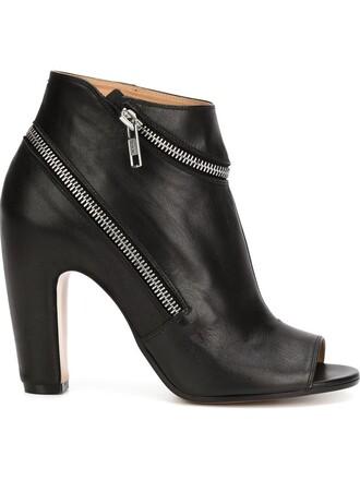 zip booties black shoes