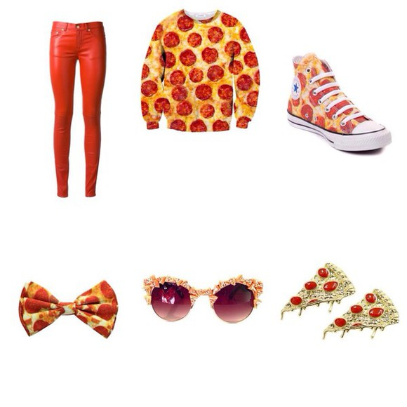 hair bow hair accessories pizza bows sweater pizza , crewneck pizza shirt