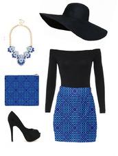 skirt,blue,pattern,heels,black,bodysuit,high waisted,hat,women,clutch,outfit,statement necklace,mini skirt,long sleeves,off the shoulder