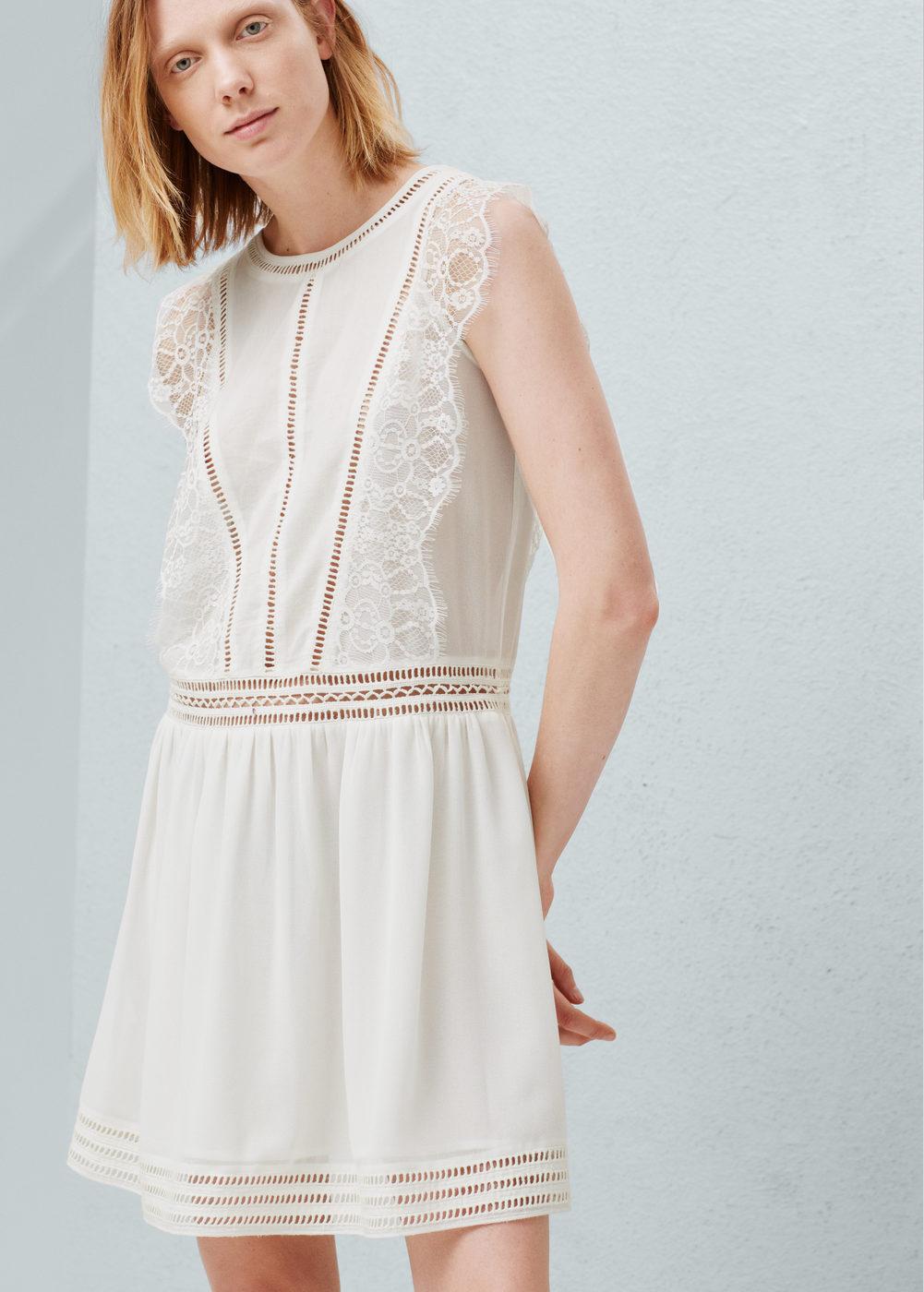 Blond-lace appliqué dress - Women   MANGO USA