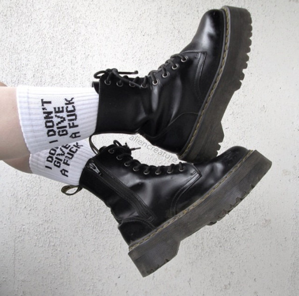shoes boots chunky black socks grunge combat boots pale aesthetic black boots goth black combat boots it girl shop white