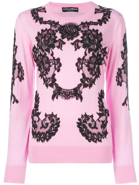 Dolce & Gabbana jumper women lace cotton wool purple pink sweater