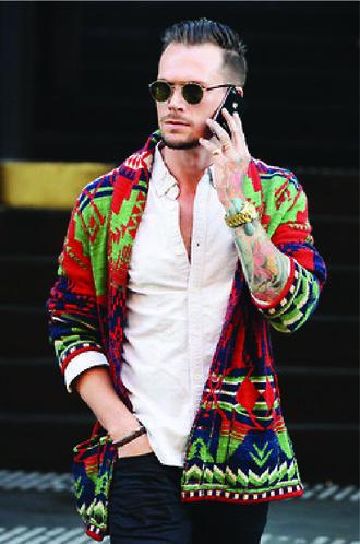 sweater mens cardigan cardigan native print native american aztec outerwear ethnic print menswear mens mens sweater sunglasses colorful tribal pattern tribal sweater tribal print sweater colored jeans bright multicolor