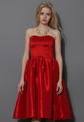 dress,bustier,strapless,red