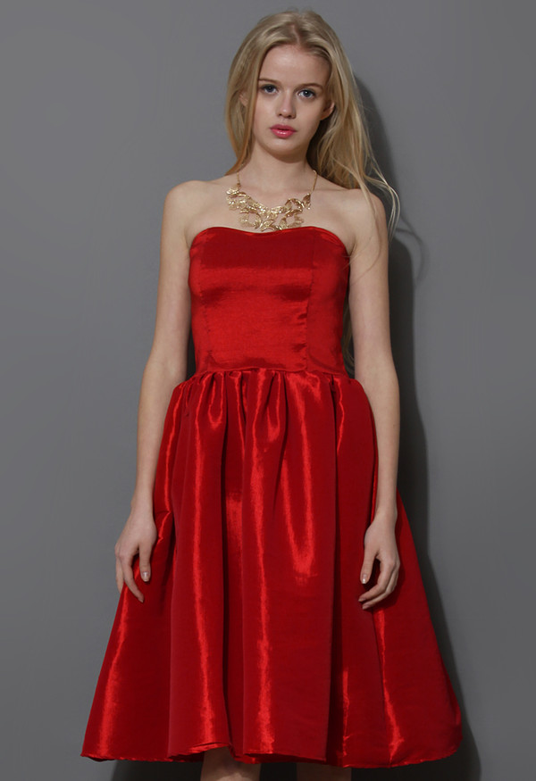 dress bustier strapless red