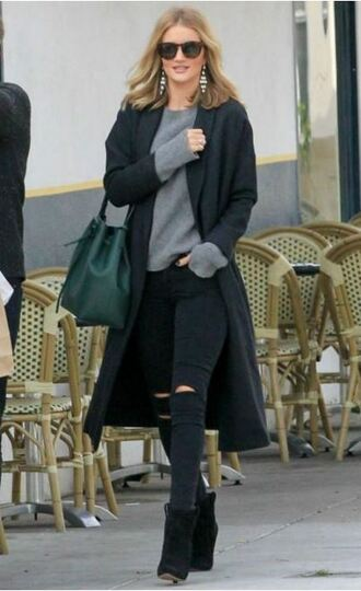 sweater fall outfits rosie huntington-whiteley ripped jeans jeans black jeans coat