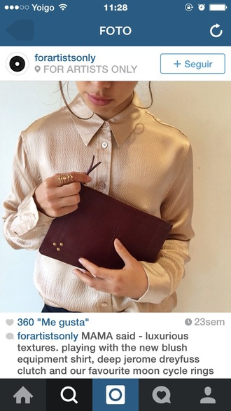 blouse ring gold sequins top shirt pattern bag nude