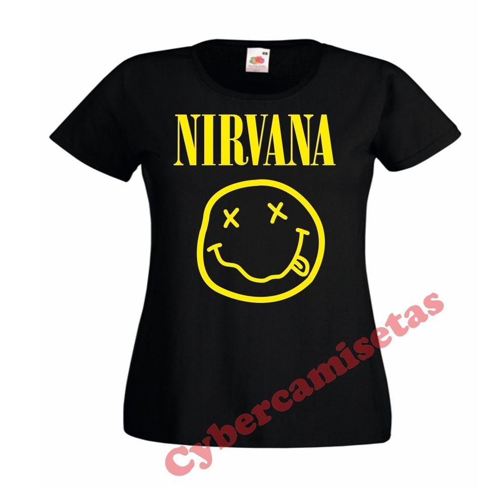 Camiseta chica nirvana negra rosa blanca mujer woman black girl t