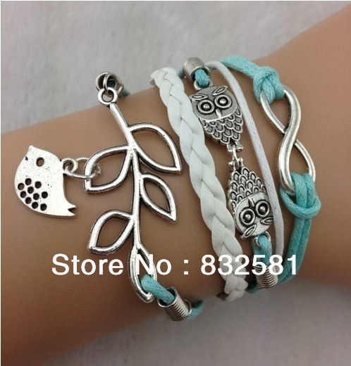 Multilayer Infinity, Owls & Lucky Branch/Leaf and Lovely Bird Charm Bracelet in Silver   Mint Green Wax Cords and Leather Braid-in Charm Bracelets from Jewelry on Aliexpress.com