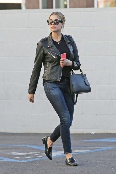 bag ashley benson fall outfits jeans jacket