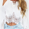 Lace splicing off the shoulder crop top|disheefashion