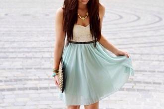 dress aqua white top aqua low-high dress high low dress