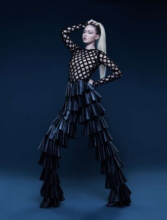 top mesh mesh top gigi hadid editorial model pants balmain