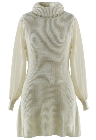 dress crepe sleeves turtle neck knitwear