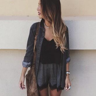 lookbook jacket shorts style t-shirt jeans grey shorts black t-shirt jeans jacket