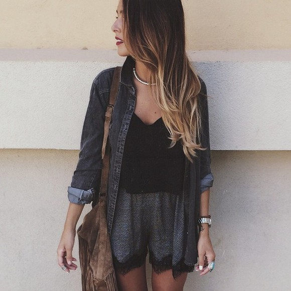 shorts jacket lookbook style t-shirt grey shorts black t-shirt jeans jacket, grey jeans