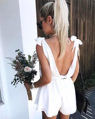 romper tumblr open back backless white romper hair hairstyles ponytail blonde hair