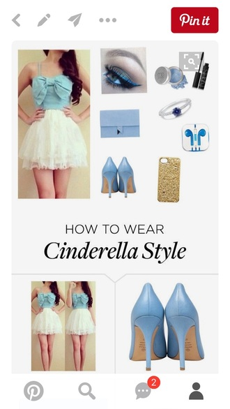 dress light blue white cinderella