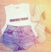 shirt,shoes,shorts,socks,forever young,pretty,nice,hot,blonde hair,black,white,forever young shirt,blonde shoes,outfit,high heels,cut offs,t-shirt,swag,foever young,high waisted,spitze,heels,sparkle,fancy,studded shorts,denim shorts,girly,fashion,ripped shorts,jeans,blouse,forever young crop top,high heel,boots,gloves,tank top,white tie-up heels,short,cut off shorts,High waisted shorts,summer shorts,high waisted denim shorts,Sequin shorts,studded,studded denim shorts,studs,denim,style,summer outfits,summer,summer pants