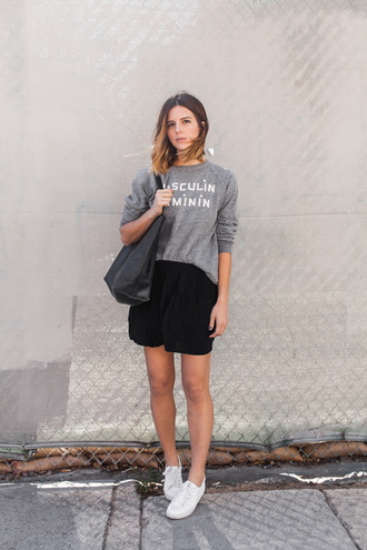 michelle madsen home - take aim blogger grey sweater quote on it black skirt french girl style sweater slogan t-shirts